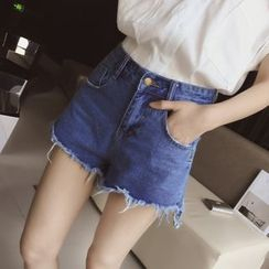 Cocofield - Frayed Hem Denim Hot Pants