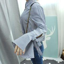 Dodostyle - Tie-Cuff Stripe Blouse