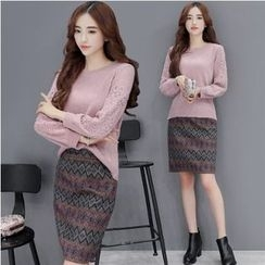 Romantica - Set: Knit Top + Patterned Skirt