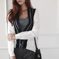 NIPONJJUYA - Contrast-Trim Metallic-Buttoned Cardigan