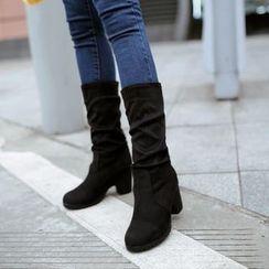 Pastel Pairs - Block Heel Mid Cuff Boots