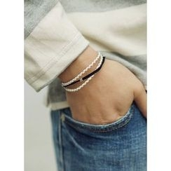 JOGUNSHOP - Faux-Leather Embroidered Bracelet