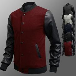 Fireon - Faux-Leather Sleeve Button Jacket