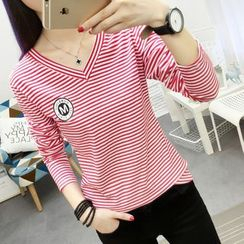 Carabecca - Long-Sleeve Striped V-neck T-Shirt