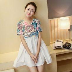 Cheer Mom - Maternity Short-Sleeve Printed Dress