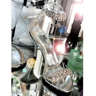 77Queen - Rhinestone Ankle-Strap Heel Sandals