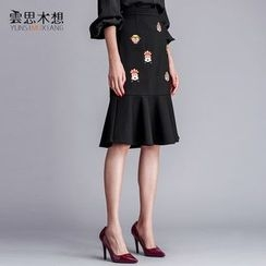 Cloudwood - Embroidered Ruffle Hem Midi Skirt