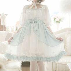 StaRainbow - Elbow-Sleeve Tie Waist Dress