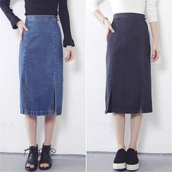 Anlay - Slit-Hem Denim Pencil Skirt