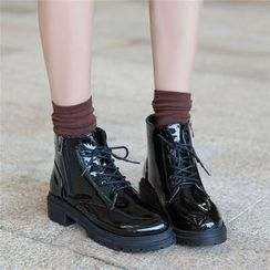 QQ Trend - Chunky Heel Lace Up Ankle Boots