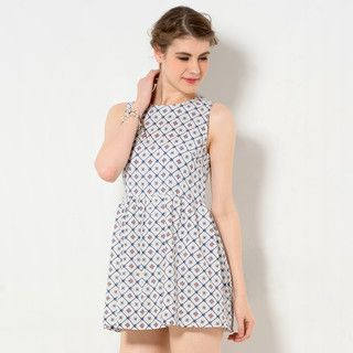 59 Seconds - Sleeveless Patterned A-Line Dress