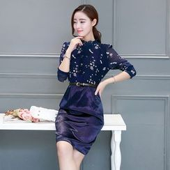 Purple Rose - Mock Two-Piece Chiffon Dress