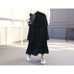 DANI LOVE - Pleated Long Tiered Skirt