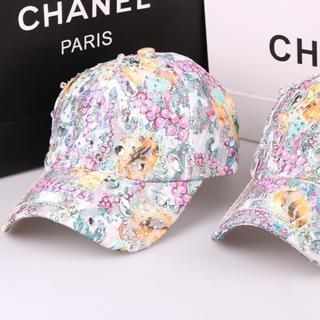 Supermary - Rhinestone Printed Lace Cap