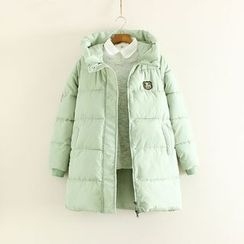 Mushi - Patched Hooded Padded Coat