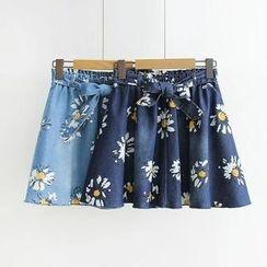 Musume - Tie-Waist Floral Denim Skirt