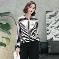 Cobogarden - Striped Chiffon Shirt