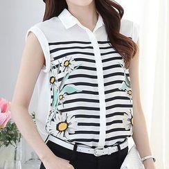 chic n' fab - Floral Print Stripe Sleeveless Chiffon Blouse