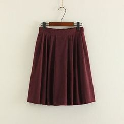 Mushi - Plain Pleated A-Line Skirt
