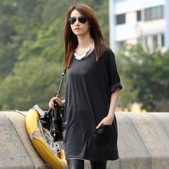 SO Central - Faux Leather Pocket T-Shirt Dress