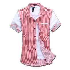 MR.PARK - Short-Sleeve Striped Shirt