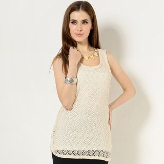 YesStyle Z - Crochet Slit-Side Tank Top