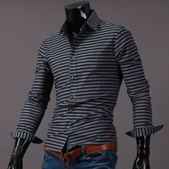 Seoul Homme - Striped Slim-Fit Shirt