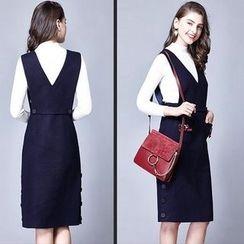 菲兒 - 套装:V领蝴蝶结装饰背带裙 + 纯色长袖上衣
