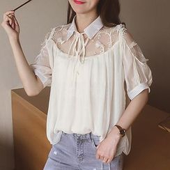 Cocofield - Mesh Panel Elbow Sleeve Chiffon Blouse