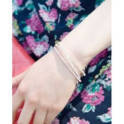 Miss21 Korea - Full-Rhinestone Adjustable Tiered Bangle