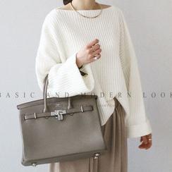 NANING9 - Boat-Neck Rib-Knit Sweater