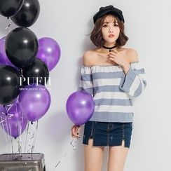 PUFII - Off-Shoulder Striped Top