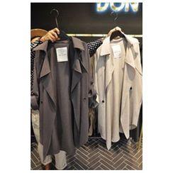 Ashlee - Notch Lapel Snap Button Coat