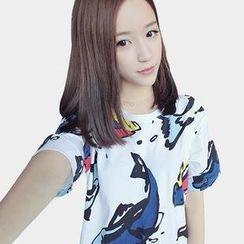 AIGIL - Short-Sleeve Fish Print T-Shirt