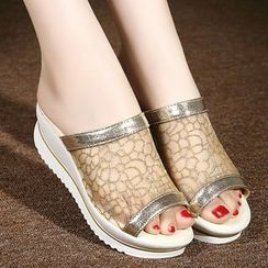 BAYO - Mesh Panel Platform Slide Sandals