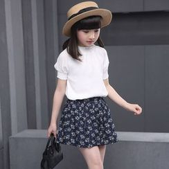 Famula - Set: Kids Ruffled Top + Floral Skirt