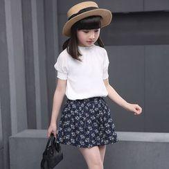 Famula - 套装: 儿童荷叶边上衣 + 碎花短裙