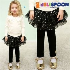JELISPOON - Girls Inset Star Print Tulle Skirt Leggings