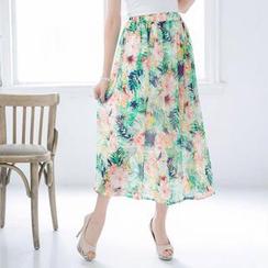 Tokyo Fashion - Elastic-Waist Floral Chiffon Maxi Skirt