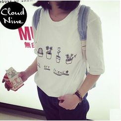 Cloud Nine - Printed Cropped T-Shirt