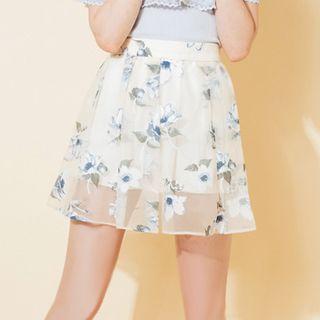 Pluvio - Floral Print Mesh Layered A-Line Skirt