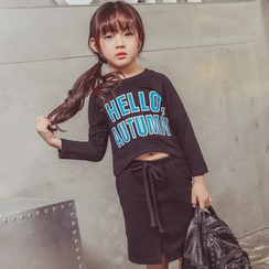 Lemony dudu - Kids Set : Letter Long-Sleeve T-shirt + Skirt