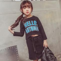 柠檬嘟嘟 - 小童套装: 字母长袖T恤 + 裙