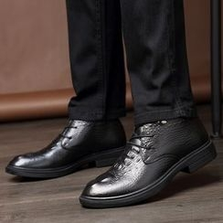 MARTUCCI - Genuine-Leather Croc Grain Oxfords