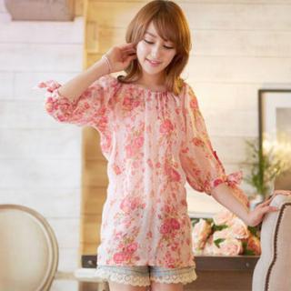 Tokyo Fashion - 3/4-Sleeve Floral Tunic