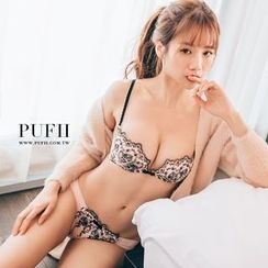 PUFII - Set : Lace Bra + Panties