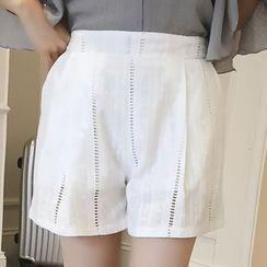 Colorful Shop - Plain Cutout Shorts