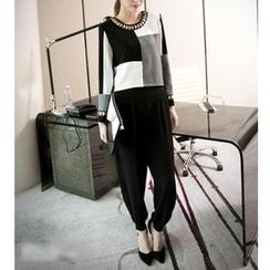 Ashlee - Set: Colour Block Linen-blend Top + Harem Pants