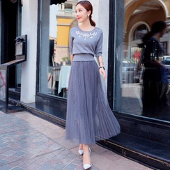 Tang House - Set: Rhinestone Elbow-Sleeve Knit Top + Maxi Tulle Skirt