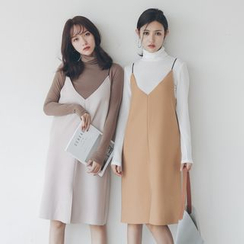 Porta - Set : Slit Strap Dress + Mock-neck Long-Sleeve T-shirt